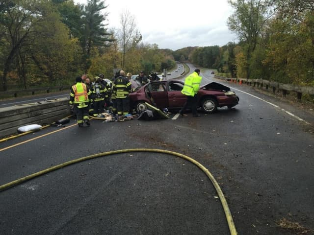 The Greenwich Fire Department put out the car fire on the Merritt Parkway. No one was injured, according to the Greenwich Police Department.