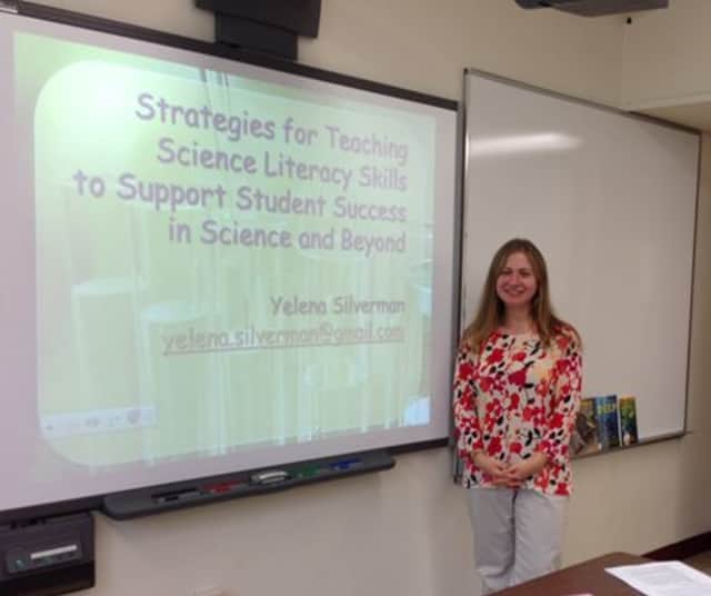 Briarcliff High School teacher Yelena Silverman spoke at the 19th annual Rockland Literary Extravaganza Professional Development Conference, held Oct. 18 at her alma mater, St. Thomas Aquinas College.