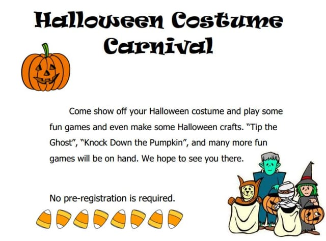 A flier for the Mount Kisco Halloween Costume Carnival