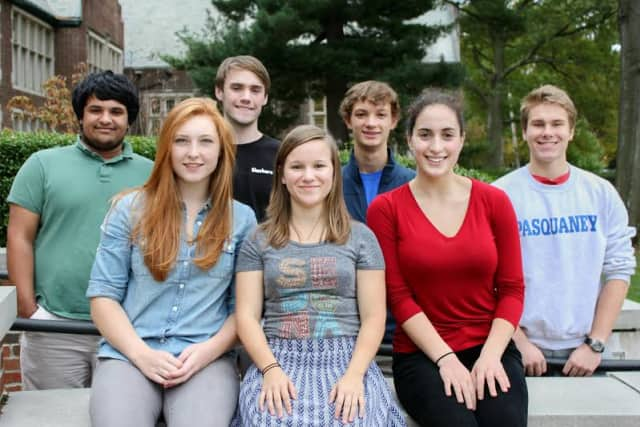 From the left, Paul Philips, Caroline Schetlick, Harry Pyle, Kylie Regan, Michael Landy, Ariana Sher and Henry Anderson.
