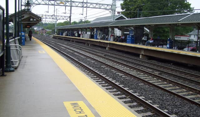 A woman was hit by an Amtrak train near the Milford station.