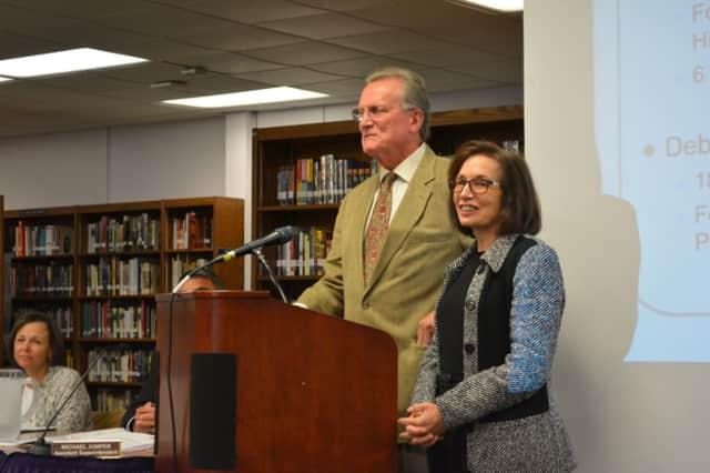 Representatives John Chambers and Deborah Raizes at the Katonah-Lewisboro school board's Sept. 15 meeting