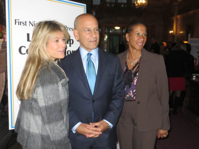 Steven Safyer, center, president and chief executive officer of Montefiore Health System, spoke at Manhattanville College.