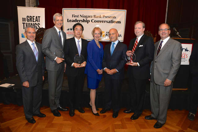 From left, Anthony Justic of The Business Council, William McGrath of Pace, Hiroji Iwasaki of Kawasaki, Marsha Gordon of The Business Council,  Dr. Steven Safyer of Montefiore, David Ring of First Niagara & Stephen J. Jones of The Business Council.