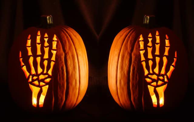 Skeleton hands at the Great Jack O'Lantern Blaze.