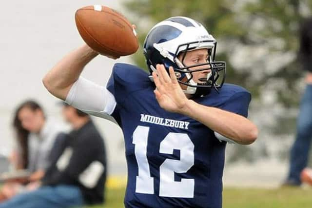 New Canaan's Matt Milano, a junior quarterback at Middlebury College, was named the conference Player of the Week for the second time this season.