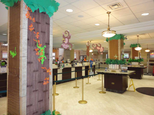 The interior of Ridgewood Savings Bank decked out for Halloween and ready for customers -- and costumes.