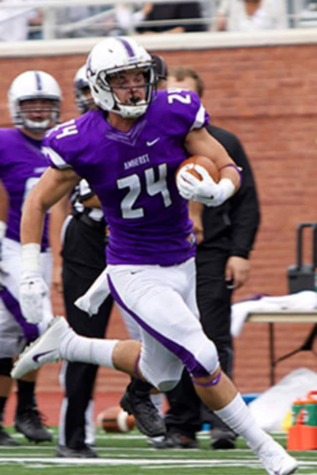 Former Staples High running back Nick Kelly is now starring at Amherst, which is 6-0 entering Saturday's game against Trinity.