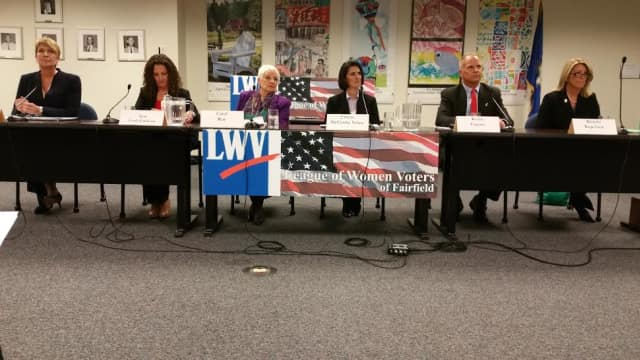 The six candidates for three seats in the State House of Representatives meet earlier this month in a debate.
