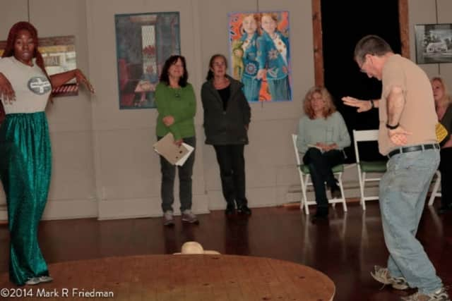 """A scene from the """"Living Art"""" presentation."""