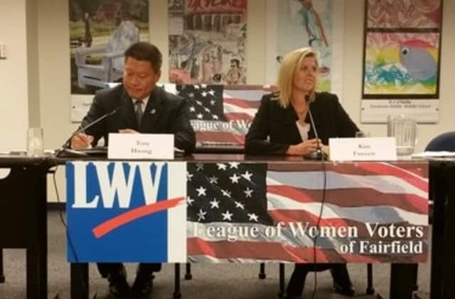 Tony Hwang (R) and Kim Fawcett (D) at the League of Women Voters debate where Hwang called Fawcett on her voting record.