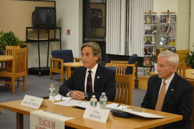 Martin Aronchick, left, and William Monti, right, at a candidates' forum at North Salem Middle School/High School.