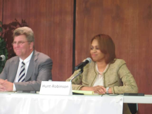 Nadine Hunt-Robinson, on the right, at last fall's League of Women Voters of White Plains forum. She is one of three incumbent Democrats seeking re-election this fall. A candidates forum is planned at 7 p.m. on Wednesday at the Public Library.