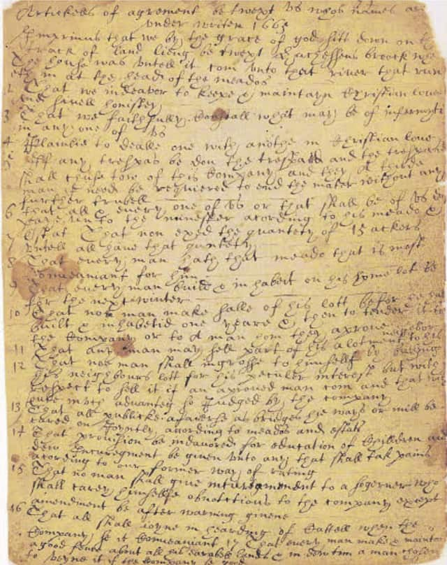 Image of The 1665 Eastchester Covenant Signed by Virginia Kathryn Fish Reynolds Hefti's Ancestor, Henry Fowler.