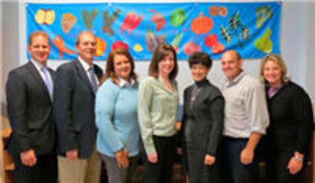 From left, school board members Michael Haberman, Paul Wasserman, BPTA Co-Presidents Izel Obermeyer, Eileen Madden, school board members Jennifer Rosen, Jonathan Satran and Dina Brantman.