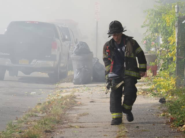 Con Edison cut power in Mount Vernon to protect firefighters battling the blaze on Monday.