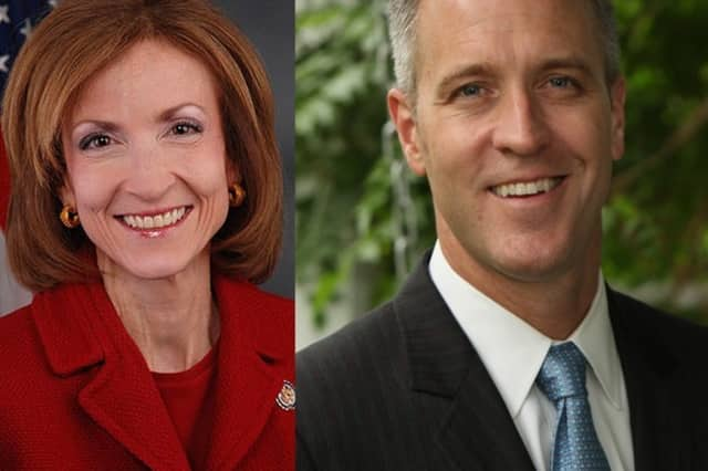 Nan Hayworth, left, and Sean Patrick Maloney, right.
