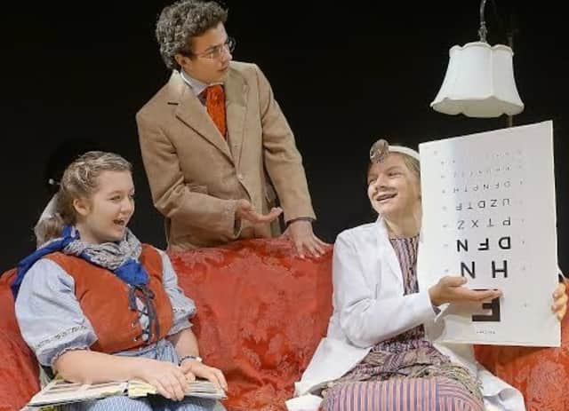 """From left to right: Wooster School students Kennedy Shaffer, Michael Ambrosio and Will Santella perform a scene from Neil Simon's """"Fools."""""""