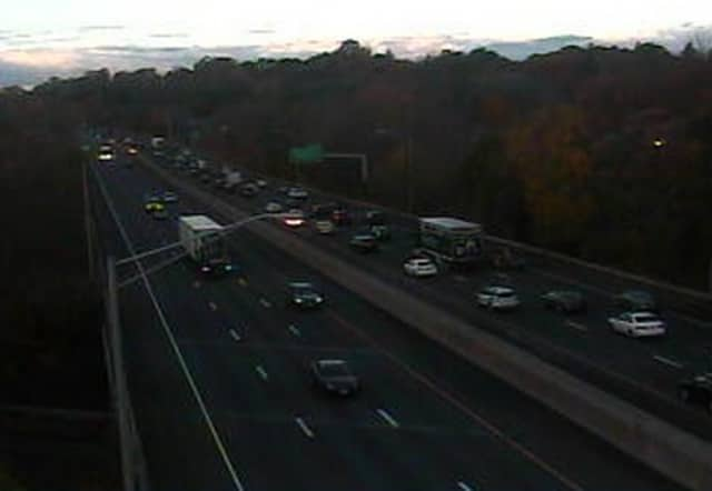 Traffic jammed on Friday morning on Interstate 95 southbound in Westport.