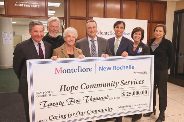 Montefiore New Rochelle donated $25,000 to HOPE Community Services to help the homeless community in the city.