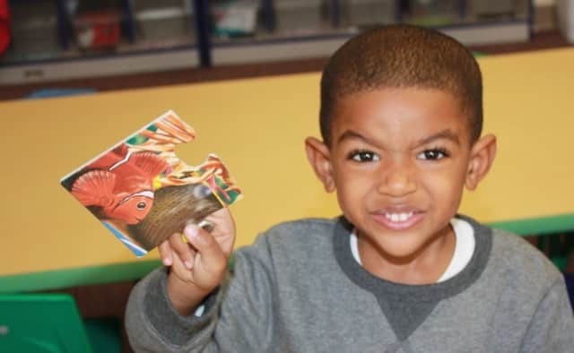 One of the youngsters who have begun attending the new New Rochelle learning center.