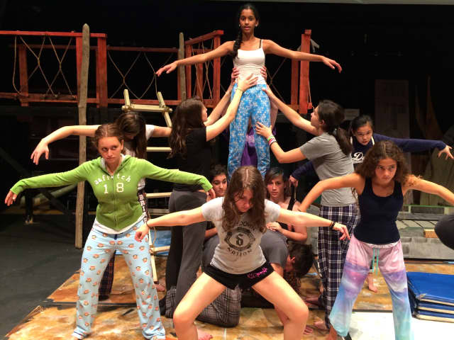 """The cast of Briarcliff High School's production of Shakespeare's """"The Tempest"""" rehearses for opening night, set for Friday, Nov. 21."""