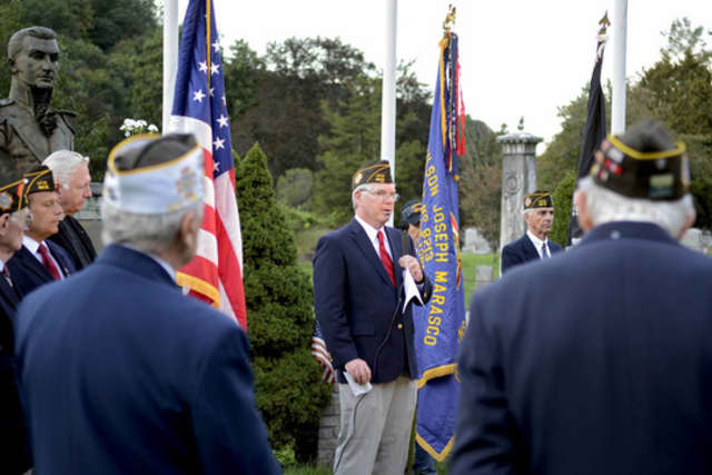 Tim McArdle, commander of VFW Post 8213 in Somers, speaks at a Veterans Day event in 2011.
