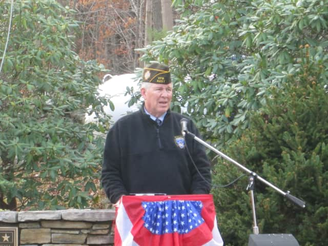 Putnam County Sheriff Don Smith speaks at Putnam Valley's Veterans Day ceremony.