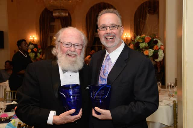 Andrew Malcolm, left, and Dan Bena were honored by ANDRUS.