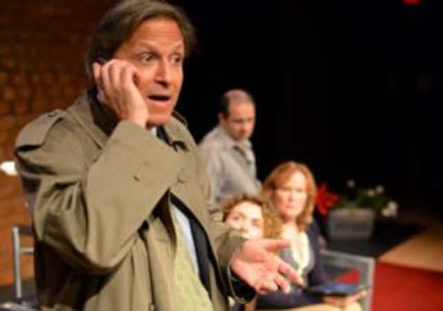 """Lawrence Reina, Jessie Gilbert, Eileen Lawless, and Gary Betsworth in """"God of Carnage"""" at Darien Arts Center."""