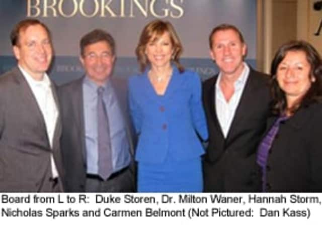 The Board of the Hannah Storm Foundation, from L to R: Duke Storen, Dr. Milton Waner, Hannah Storm, Nicholar Sparks and Carmen Belmont. Not pictured: Dan Kass.