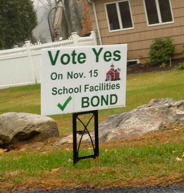 A sign on Westlake Drive in favor of the bond proposal, which was defeated on Saturday.