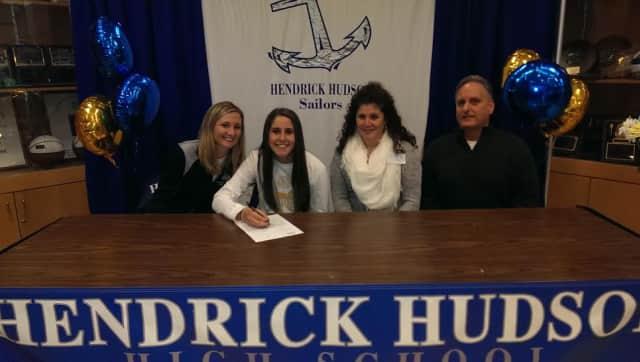 From left: Head coach Mary Honovich, Amber Feminella, parents Tracie and Dan Feminella