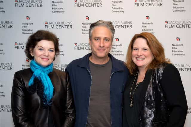 "JBFC President Janet Maslin, left, filmmaker and Daily Show host Jon Stewart, and JBFC Executive Director Edie Demas, right, pose following a screening of Stewart's new film ""Rosewater."""