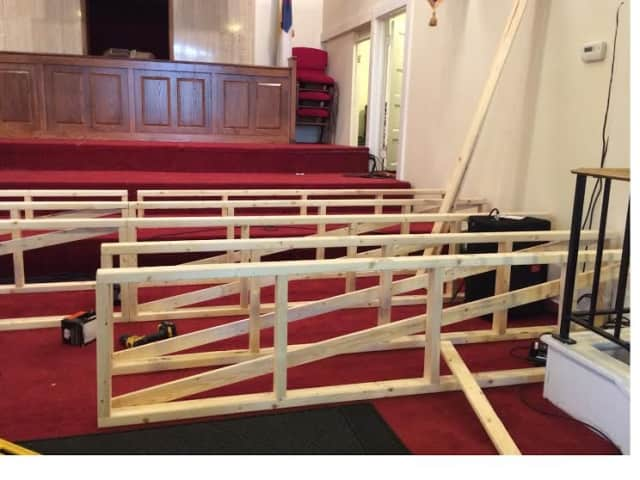 Grace Baptist Church sets up for Christmas play.
