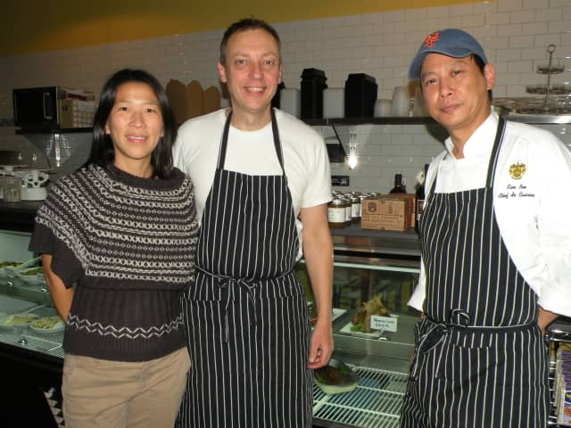 The Apiary partners, from left, Teresa Hsiao, Joerg Zehe and Kim Nee. At least eight local small businesses are banding together to stage a free home entertaining showcase on April 3, from 3:30-5:30 p.m. at Apiary in Larchment.