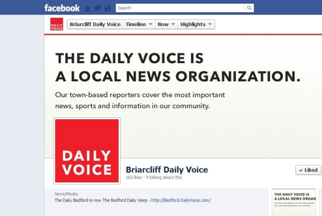 """""""Like"""" The Briarcliff Daily Voice on Facebook or follow us on Twitter."""