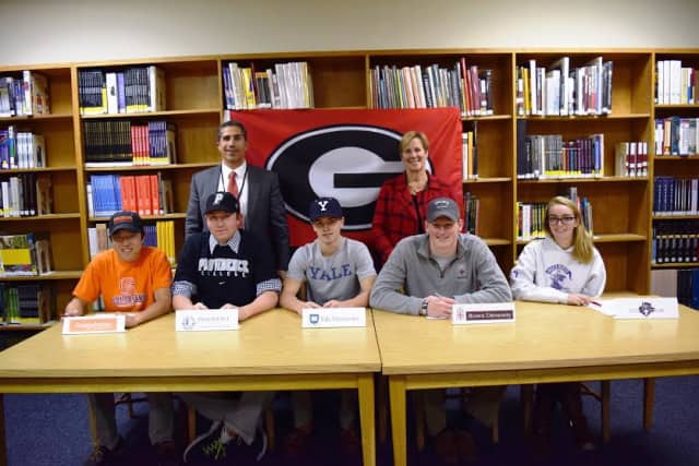 Six Rye High School athletes have committed to play collegiate-level sports.