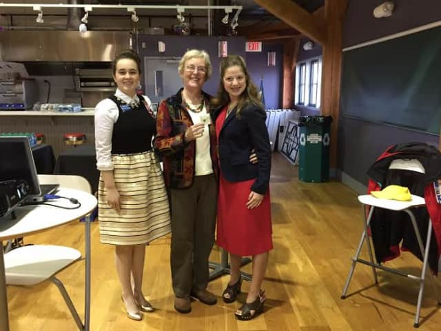 Caileigh Murray, left, Regent Diane Wells, and Morgan Fischer, right.