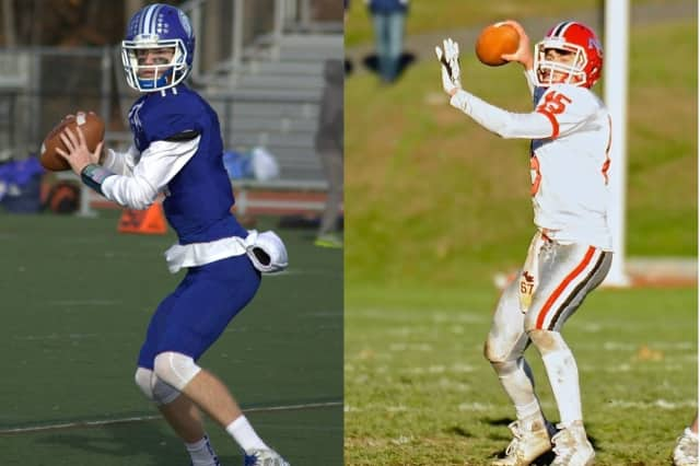 Darien quarterback Pete Graham (left) and New Canaan's Mike Collins will lead their teams into Thursday's FCIAC title game at Boyle Stadium in Stamford. Both teams enter the game undefeated.