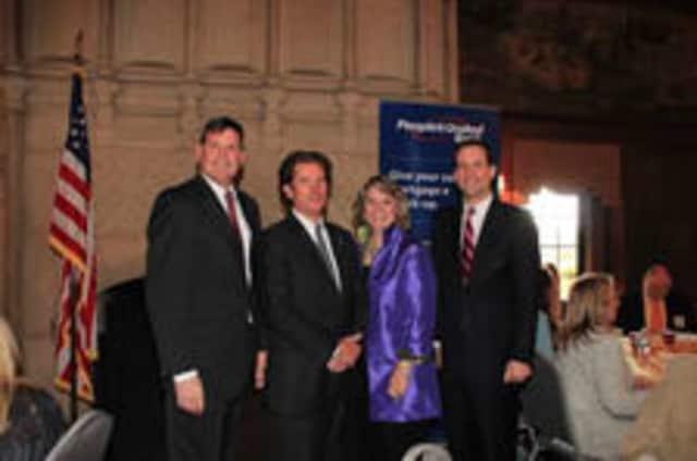 Featured in the photo, from left are State Representative Tom O'Dea, State Sen. Scott Franz, Arlene Bubbico and Congressman Jim Himes. U.S. Rep. Toni Boucher and First Selectman Rob Mallozzi.