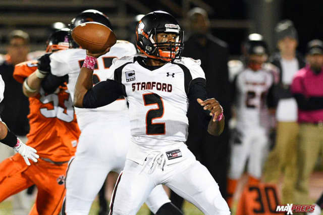Stamford quarterback Jalen Brown threw for five touchdown passes Tuesday night in a 42-21 win over Westhill.