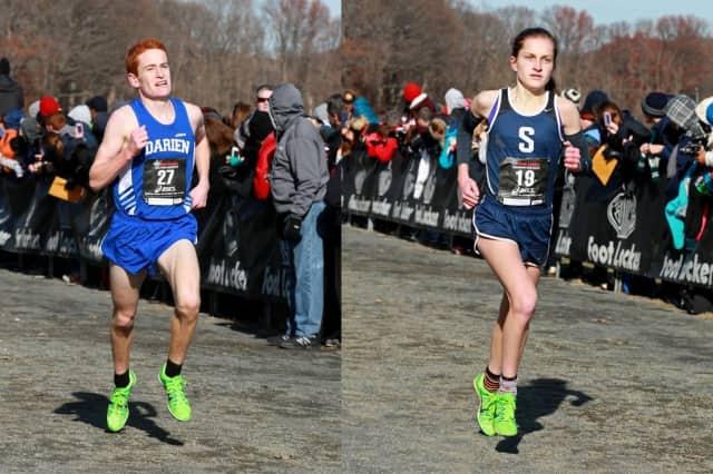Darien's Alex Ostberg, left, and Staples' Hannah DeBalsi will run Saturday in the FootLocker Northeast Regional cross country championships in New York.
