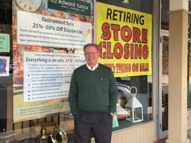 Edward Tunick - Men's Clothier will close after 38 years in Darien.
