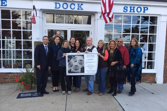 Sen. Bob Duff, Cliff Benham, Susan Cator, Amanda England, Rosey Costello, Toni Sabia, Tom Geary, Dana Cobb, Erica Jensen, Michael LaScala and Jayme Stevenson promote Darien shopping for Small Business Saturday