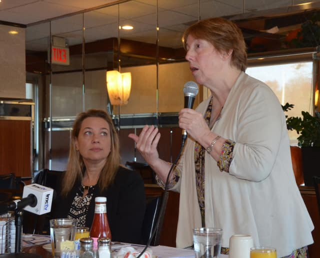 Westchester County Legislator Catherine Parker, left, and Housing Action Council Executive Director Rosemarie Noonan, right, recently spoke about the issues many people face trying to find affordable housing in the county.