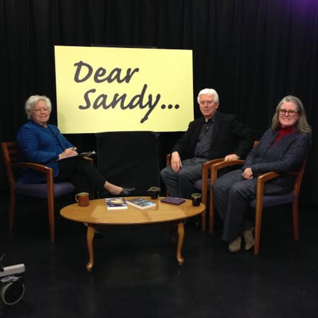 """Assemblywoman Sandy Galef interviews Maggie Barbieri and Patrick Oster on the latest episode of her television show, """"Dear Sandy,"""" to discuss their thrillers."""