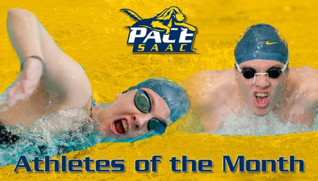 Men's swimmer Brian Sosa, right, and women's swimmer Madison Kiefer are the Pace Athletics SAAC Setters of the month for November.