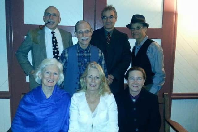 It's A Wonderful Life cast includes is (front, left to right) Elizabeth Breslin, Nancy Maloy and Judy Allen and back (left to right) Simon Skolnik, Joe Niola, Greg Brown and Lew Zwick.