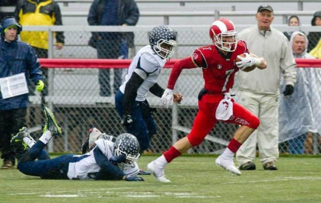 New Canaan's Alex LaPolice set a school record with a 95-yard touchdown run in Saturday's win over Wethersfield.